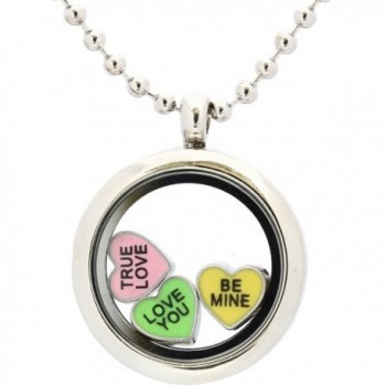 Candy Heart Locket Charm Set with Magnetic Locket- Necklace & 3 Floating Locket Charms for Valentines Day - CF11TMTALA9