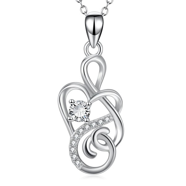 "925 Sterling Silver ""Eternal Love"" Infinity Heart Pendant Necklace 18"" - CT1857HIQ3E"