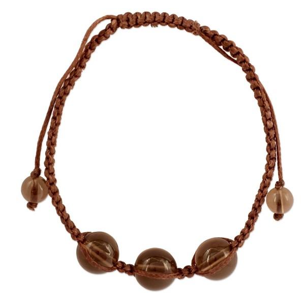 """NOVICA Smoky Quartz Beaded Shambhala Style Bracelet 'Enduring Peace'- 6.25"""" - 9.75"""" - CT127RWWSG9"""