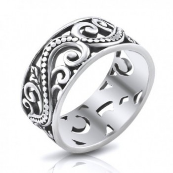 MIMI Sterling Silver 9MM Antique Bali Filigree Scroll Band Ring - CE11NLEI6A9