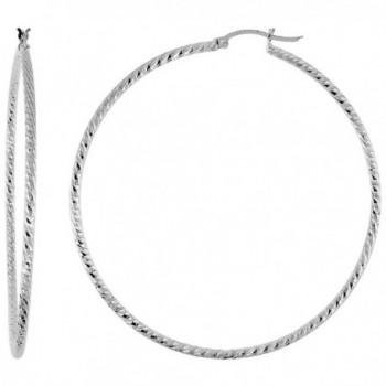 Sterling Silver Diamond cut Hoop Earrings- 2 1/2 inch wide - CE12CJ99EPN