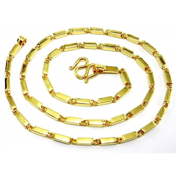 """Classic """"Aviator"""" Style Thai Bar-link 24k Gold Plated 20"""" Baht Chain Necklace - CO11R5RADLN"""