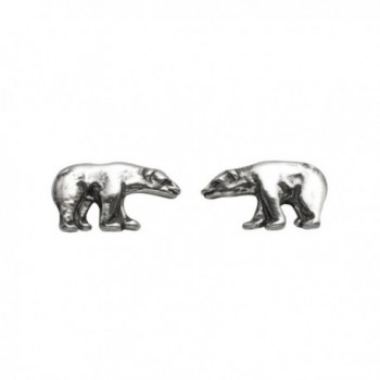 Small Sterling Silver Polar Bear Stud Earrings - CN11G0XW3DP