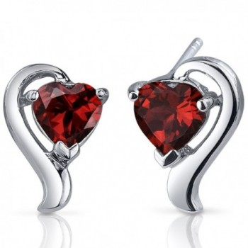 Garnet Heart Shape Earrings Sterling Silver 2.00 Carats - CT116PE3VOJ