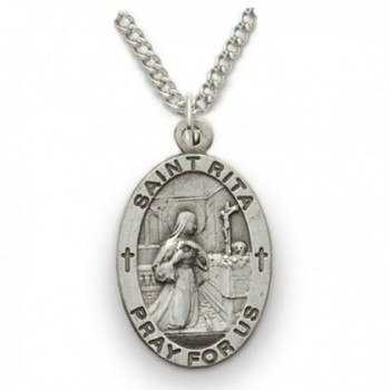 Sterling Silver Oval Saint Rita Patron of Impossible Cases Medal- 3/4 Inch - CD12FSWGIG1