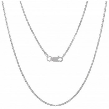 925 Sterling Silver Nickel-Free 1.2mm Box Chain Necklace - Made in Italy + Jewelry Polishing Cloth - CZ11OO5K8QP