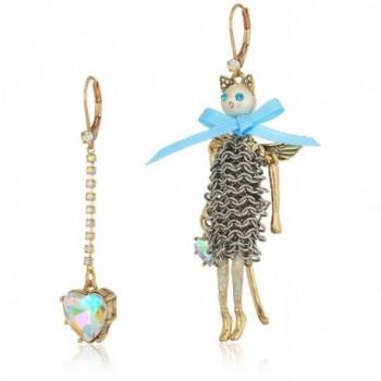 Betsey Johnson Angel Cat and Heart Mismatch Drop Earrings - CO1876CYHX2
