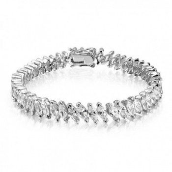 Bling Jewelry Marquise CZ Bridal Tennis Bracelet Rhodium Plated 6.75in - CL113AIW15H