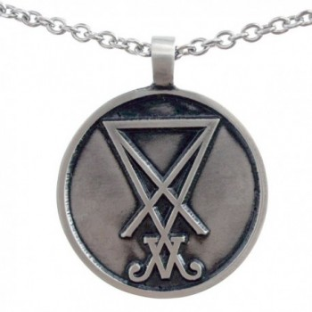 The Sigil of Lucifer Church of Luciferian Seal of Satan pewter pendant necklace - C518820M47O