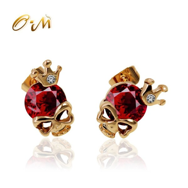 Onairmall Diamond Skeleton Earrings Fashion - Red - CC12I4YMCNX