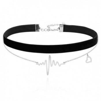 ELBLUVF Stainless Steel 18K Plated Heart Beat Love Cardiogram ECG Black Velvet Chocker Necklace - Silver - C617YRU86WX