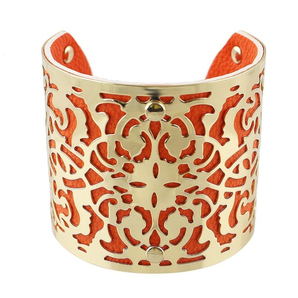 Feelontop Hot Sale Gold Plated Colored Pu Leather Big Cuff Bracelets Bangles with Jewelry Pouch - Orange - C8124KQNO59