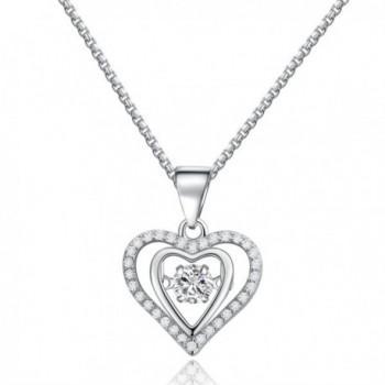 SILVERAGE Sterling Silver 925 Cubic Zirconia Dancing Heart Pendants Necklace - CM187T5ADIU
