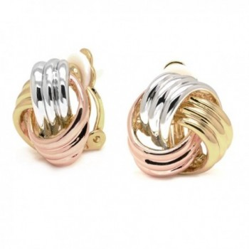 Sparkly Bride Love Knot Clip On Earrings Tricolor Three-tone Gold Plated Women Fashion - CY11Y41K43L