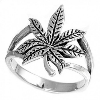 Sterling Silver Cannabis Sativa Marijuana Ring Wholesale Band 17mm Sizes 4-13 - C711GQ47X7T