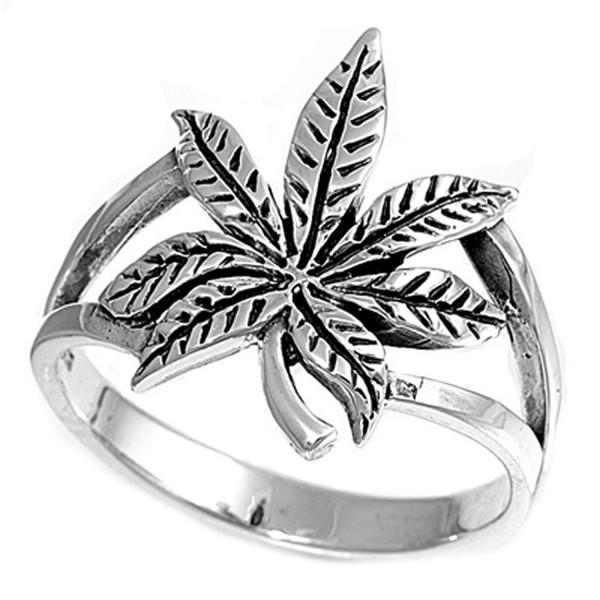 Sterling Silver Cannabis Sativa Marijuana Ring Wholesale Band 17mm Sizes 4-13 - C711GQ47X7T