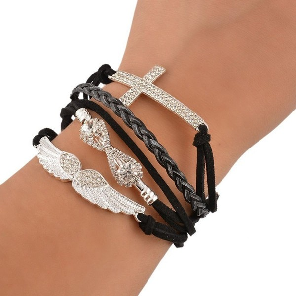 Sanwood Women's Angel Wings Cross Rhinestone Braid Faux Leather Alloy Cuff Bangle Bracelet - Black - CA128ZRRN4H