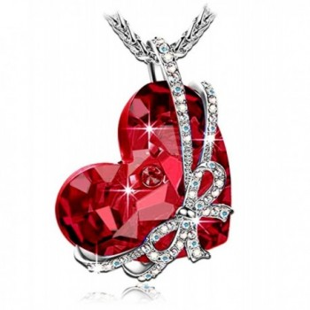 "''Red Heart of the Ocean"" Bowtie Pendant Necklace Made with SWAROVSKI Crystal - CC185MDKK84"