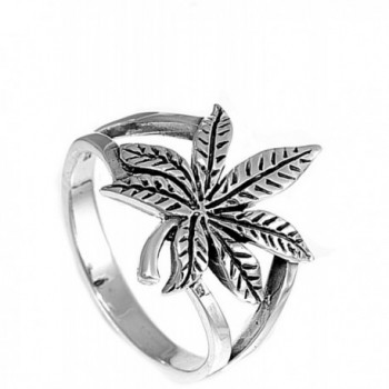 Sterling Silver Cannabis Marijuana Wholesale in Women's Band Rings