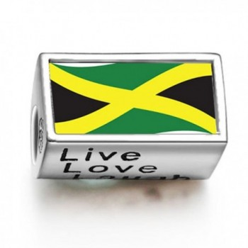 FERVENT LOVE Jamaica Flag Photo Charm Bead Live Love Laugh Fit Charm Bracelet - C911EYANBVX
