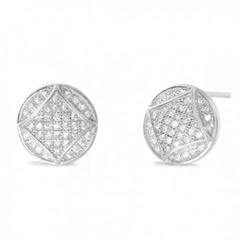 Fabulous Circle Sterling Silver CZ Stud Earrings - Sterling Silver Earrings Studs - CH183NC0RQR