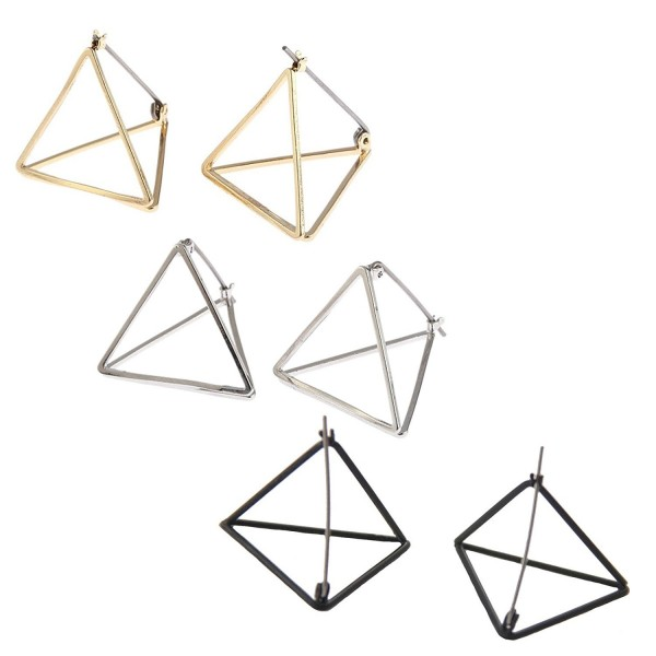 Beydodo Plated Earrings Minimalist Triangle - 3D Triangle - C71836T75S6