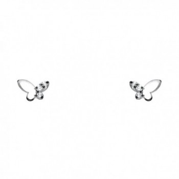 14k Yellow OR White Gold Butterfly Stud Earrings with Screw Back - CF122E3VHBN