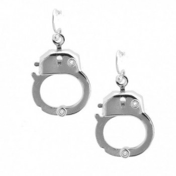 Spinningdaisy Silver Plated Functional Handcuff Earrings - C61191349LP