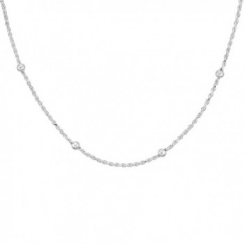 Sterling Silver Rope Chain Station Necklaces & Anklets 4mm Beads Nickel Free Italy- sizes 7 - 30 inch - CR11OG4IL2R