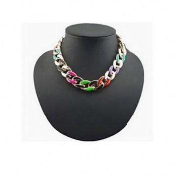 CHOP MALL European Multicolor Circle Chain Gold Alloy Statement Necklace (1 Pc) - CJ11U11M39V