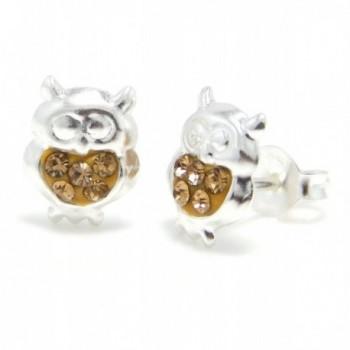 "Pro Jewelry .925 Sterling Silver "" Light Brown Crystal Owl"" Stud Earrings for Children & Women Eccn Ow 10 - CU11JGCOX85"