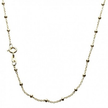18k Gold-Flashed Sterling Silver Fine Cable Bead Station Nickel Free Chain - CA116UZR86Z