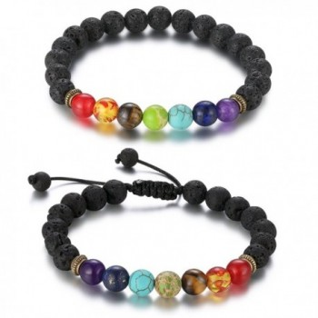 CARSINEL Men Women 7 Chakras Beads Bracelet 8mm Lava Rock Yoga Bracelet - CK188LY7XXC