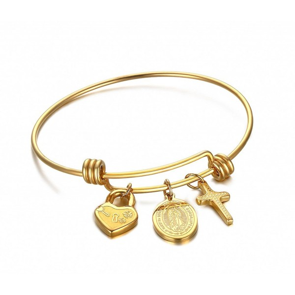 Vnox Stainless Steel Virgin Mary and Cross Charm Bangle Bracelet-Gold Plated - CX12MF5G107