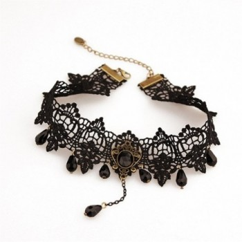 DELIFUR Gothic Lolita Pendant Choker Necklace With Black Crystal Set Wedding Decorations Lace Necklace - C812IIR4OC3