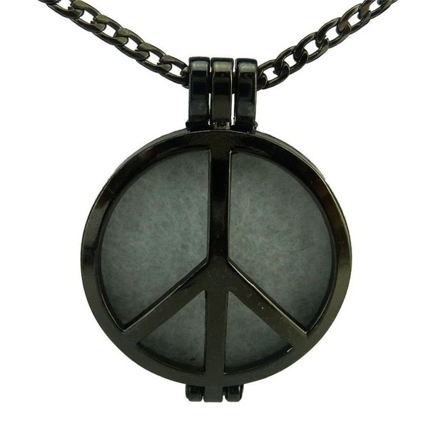 Black Round 30mm Pad Aromatherapy Perfume Diffuser Peace Sign Locket Pendant Necklace - CL12FVGWZEX