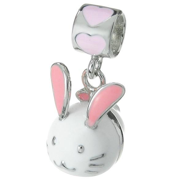 925 Sterling Silver Easter Bunny Rabbit Enamel Dangle for European Charm Bracelets - CC11ZV12G7P