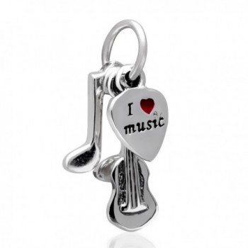 Musical Note-Guitar-I Love Music Red Enamel Heart Charm 925 Sterling Silver Bead for Charms Bracelet - CP12EV8EB5X