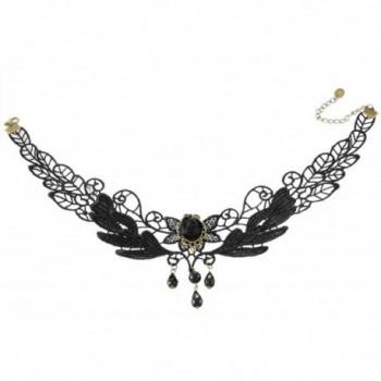 MJARTORIA Halloween Goth Style Vintage Flower Leaf Branch Beads Dangle Lace Choker Collar Necklace Black - CC11X2MN89F