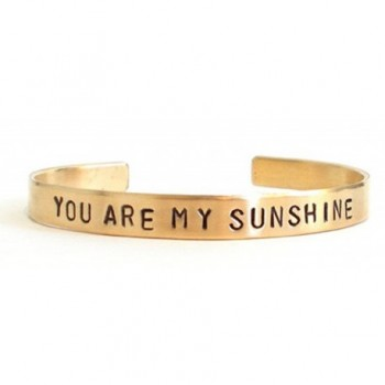 Hand stamped bracelet - you are my sunshine - inspirational quote - mom mother - brass bracelet - CF11MHYXHHR