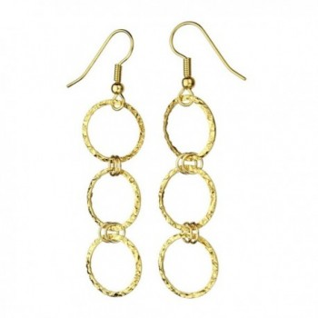 24k Gold-Flashed Sterling Silver Flat Hammered Circle Links Long Earrings Italy - CI11GJXU4SR