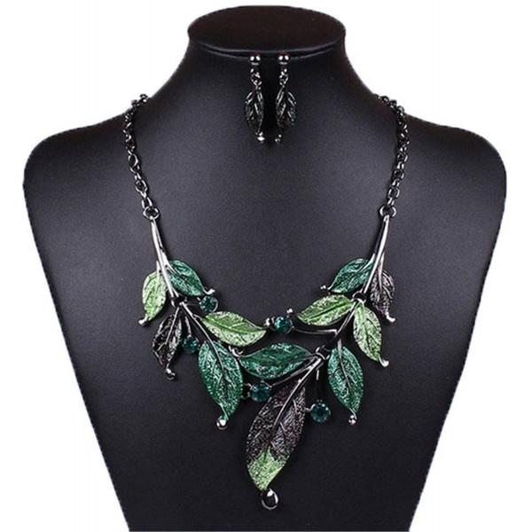 Winson Women Green 3D Leaf Pendant Collar Chain Necklace Earrings Jewelry Set - CW11LBQS65Z