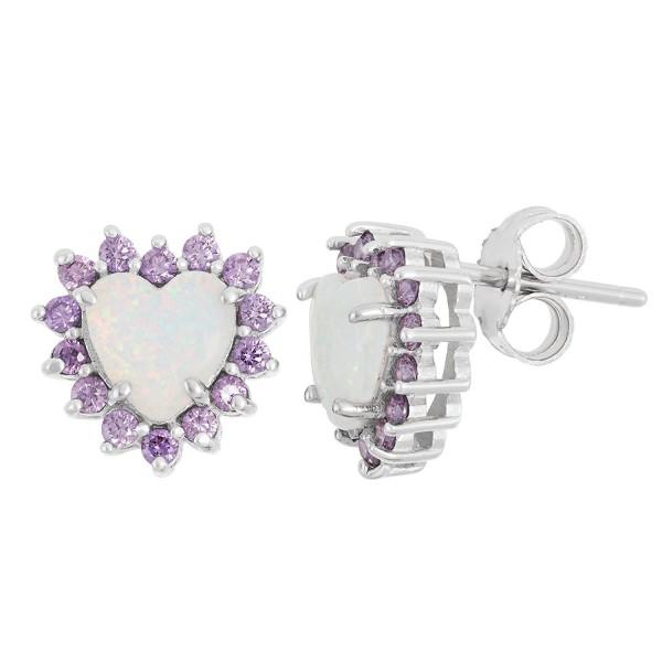 Sterling Silver Created White Opal & Amethyst CZ Stud Earrings - Heart - CE127RQ35ZX