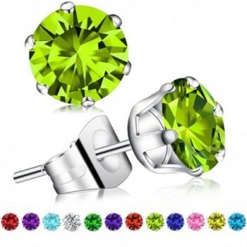 Birthstone Earrings Swarovski Zirconia Stainless - 1Pair BS08 August Peridot - C71867YGZNR