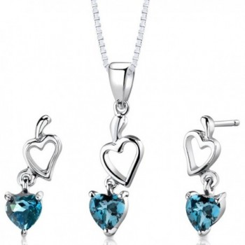 London Blue Topaz Pendant Earrings Set Sterling Silver Rhodium Nickel Finish Double Heart Design - C8112SNI6PZ