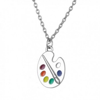 Trendy Enamel Artist Paint Palette and Brush with Thin Pendant Necklace Gifts Jewelry for Women & Girls - CX12OCFSB8Y