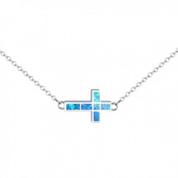 KELITCH Initial Choker Necklace Syuthetic Opal Extension Small Sideways Cross First Necklace - Blue - C1184WMU3GM