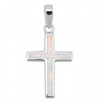 Solid Lab Created White Opal Cross .925 Sterling Silver Pendant - C71264V5SJD