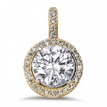 Halo Round Cubic Zirconia .925 Sterling Silver Pendant Three Metal Colors Available - CP17AAXSRO6