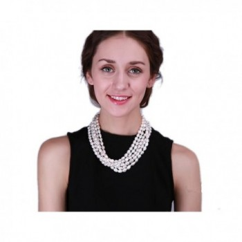 """JYX Five-strand 7.5-11mm White Freshwater Cultured Pearl Necklace Strand 20"""" - CM12NSMSQCY"""